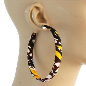 Yellow Black White Fabric Print Hoop Earrings